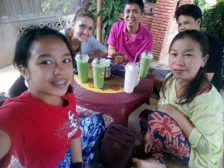 Last day in Phrao, church friends sending me off with iced green tea and cheese balls